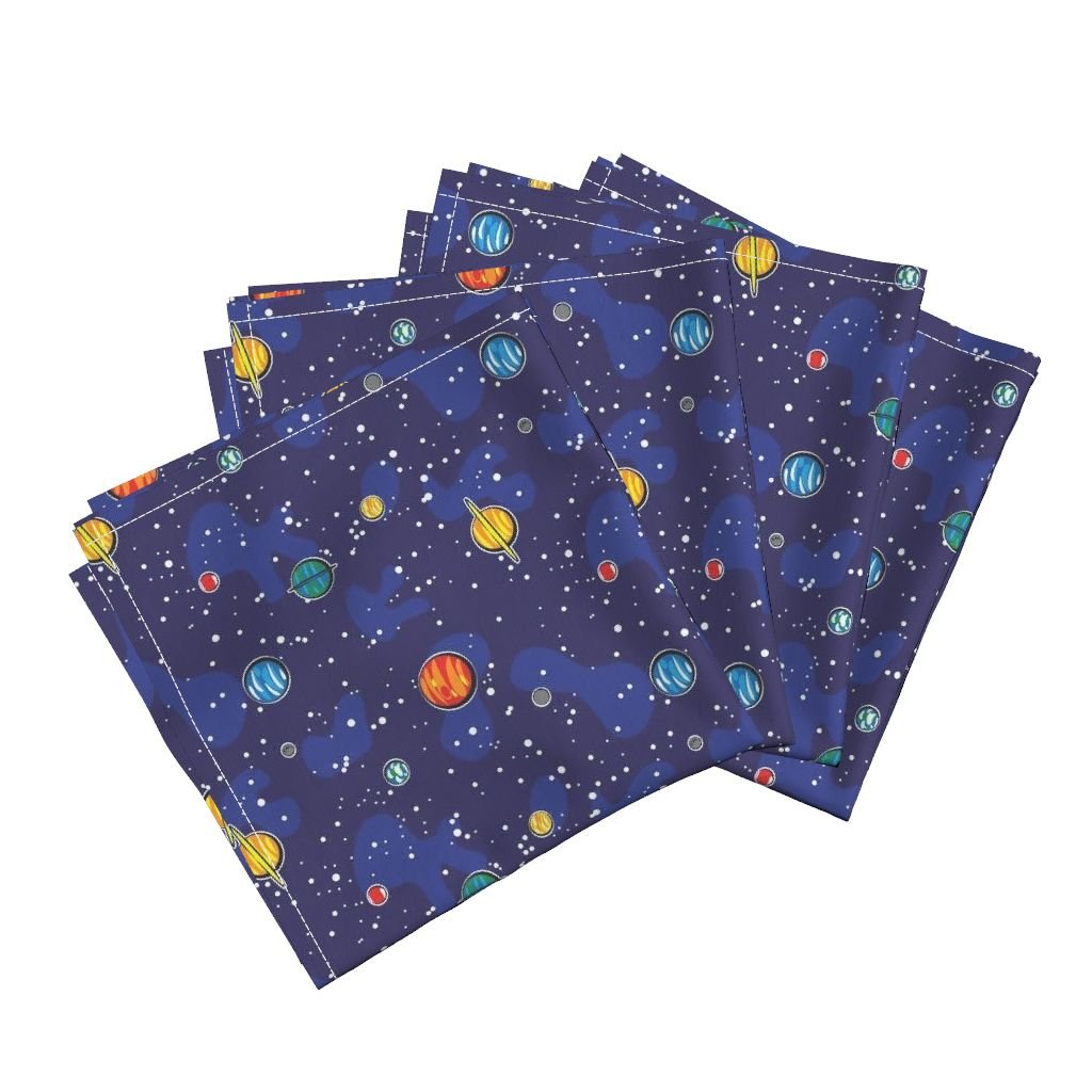 Space Planet Nerd Geek Solar System Star Astro Linen Cotton Dinner Napkins Our Solar System (Small) by Robyriker Set of 4 Dinner Napkins