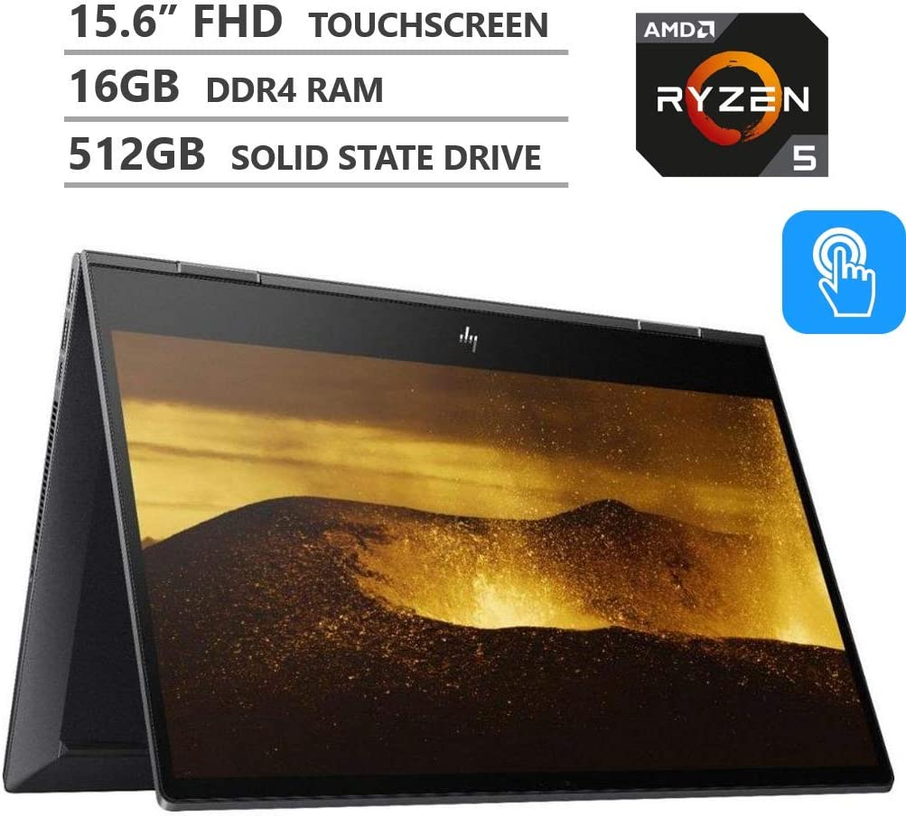 "2019 Newest HP ENVY x360 2-in-1 15.6"" FHD IPS Micro-edge Touchscreen Laptop, AMD Ryzen5 3500U Processor up to 3.7GHz, 16GB RAM, 512GB M.2 SSD, HDMI, Wireless-AC, Bluetooth, Windows 10, Nightfall Black"