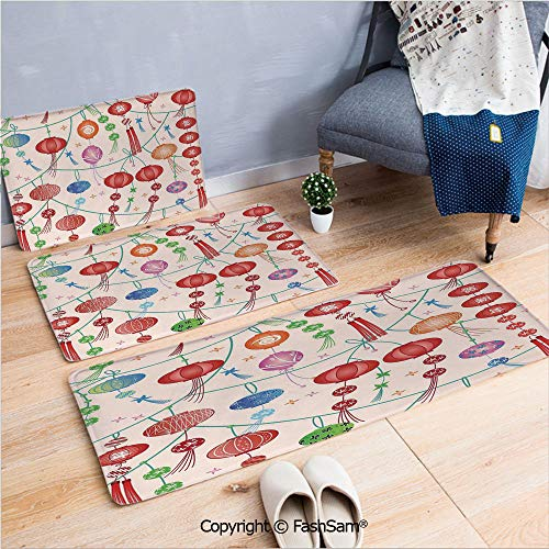 FashSam 3 Piece Flannel Doormat Colorful New Year Decorative Chinese Lanterns Celebration Holiday Artwork Decorative for Kitchen Rugs Carpet(W15.7xL23.6 by W19.6xL31.5 by W19.6xL59)