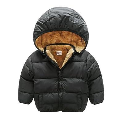 52aad44a1 Baby Boys Girls Winter Puffer Coat Unisex Kids Fleece Lined Jacket Hoodies  Warm Outwear Overcoat Black