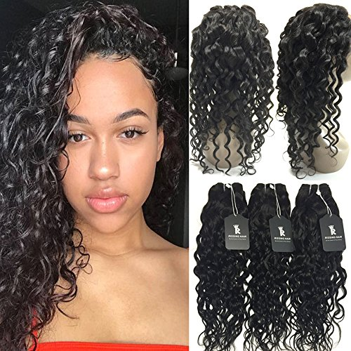 Remy Mink Hair Water Wave 360 Lace Frontal Closure With 3 Bundles Deals On Sale Amazon Hair Bundles With Closure Cheap Same Day Delivery Items Prime Beauty For Black(10