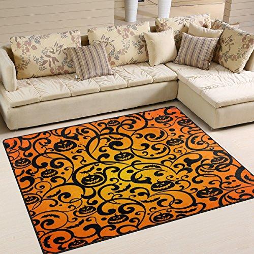 ALAZA Halloween Damask Pumpkin Area Rug Rugs for Living Room Bedroom 7' x 5'
