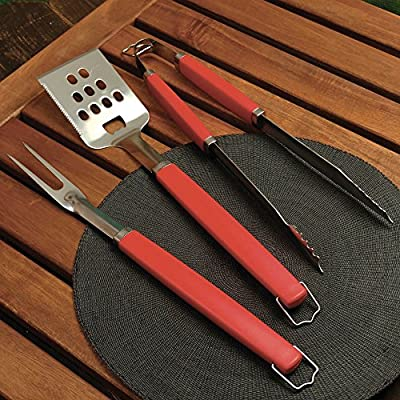 Charcoal Companion Perfect Chef 3-piece Barbecue Tool Set with Red Handle