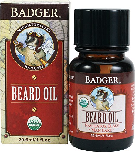 Badger - Organic Beard Oil, Conditions and Grooms Facial Hair and Moisturizes Skin - 1 fl oz Glass Bottle made in New England