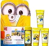 Minions Movie Exclusive Hooded Towel Wrap Includes Minion Bannana Scented Bubble Bath , Minion Shampoo, Minion Body Wash and Minion Body Lotion Gift SET