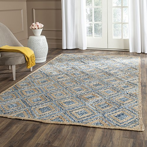 Safavieh Cape Cod Collection CAP354A Hand Woven Flatweave Diamond Geometric Natural and Blue Jute Square Area Rug (6' Square)