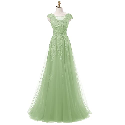 Favors Dress Cap Sleeves Lace Prom Bridesmaid Dresses Formal Evening PD03