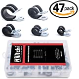 Hilitchi 47-Pcs Zinc Plated Steel Rubber Insulated Clamp Assortment Kit - 1/4~5/8 inch (6.5mm - 16mm)