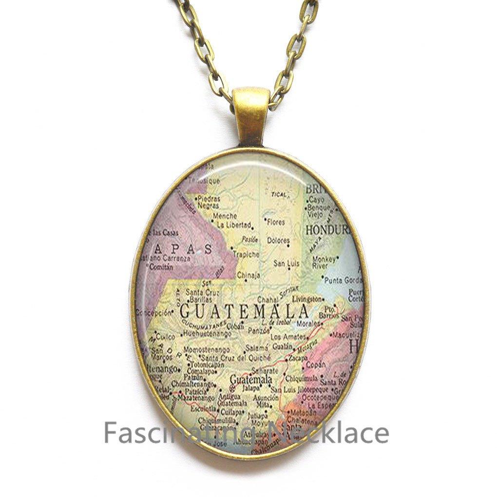 Amazon com: Charming Necklace, Guatemala map Necklace, Guatemala map