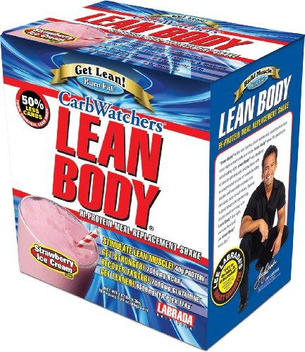 Nutrition Labrada Carb Lean Body Watcher substitut de repas en poudre, glace à la fraise, 2.29 onces paquets (paquet de 20)