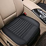 Car Seat Cushion, 1PC Breathable Car Interior Seat Cover Cushion Pad Mat for Auto Supplies Office Chair with PU Leather Bamboo Charcoal (Black)