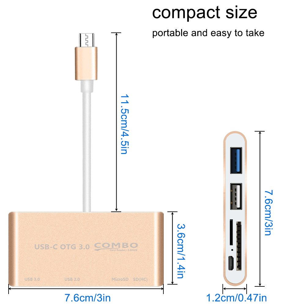 USB C Hub Aluminum Adapter,SourceTon Ultra Slim USB C to Micro SD/MMC/SD Card Reader+USB 3.0 Type A Power Delivery Charging Port Compatible with MacBook/Pro 2016, Lenovo, Asus, Google Pixel Device by SourceTon (Image #7)