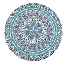 Beach Throw, Tsumbay Beach Blanket Round Roundie Beach Throw Mandala Tapestry Hippie Boho Table Cloth Picnic Blanket Wall Hanging - Blue Green
