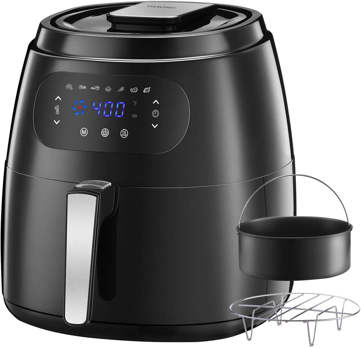 OMORC 7.6QT Large Air Fryer w/Capacity Expansion Rack & Cake Pan, 1700W Air Fryer XXL Oven w/Digital Screen, Hot Air Fryer Cooker w/Keep Warm Function, 8-15 modes, Recipe(ME181)
