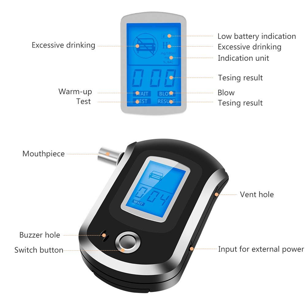 Not Included Need 3 AAA Batteries Coquimbo Alcohol Tester Digital Alcohol Breathalyzer with 6 Pcs Mouthpieces and LCD Display Perfect for Night Reading