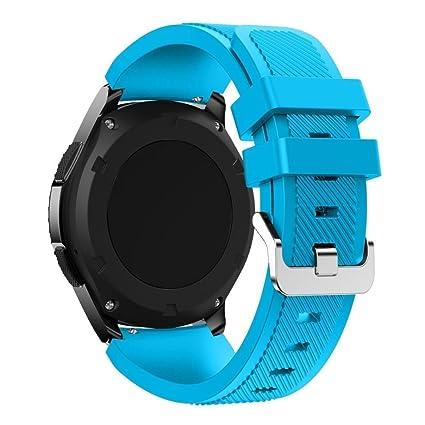 Saisiyiky Correas para relojes Samsung Gear S3 Frontier Banda de pulsera de silicona deportiva (Azul
