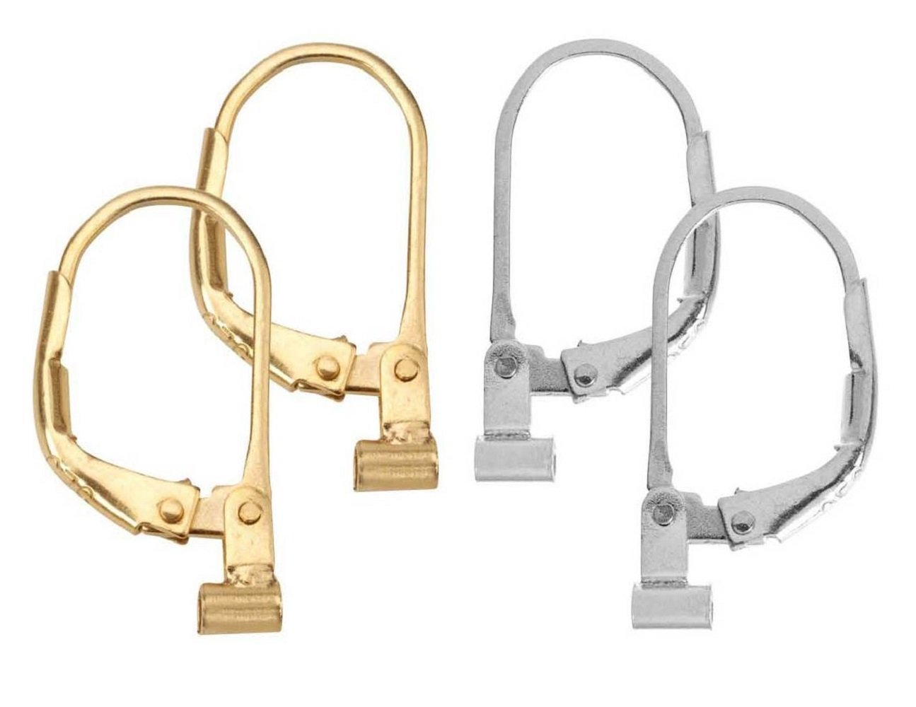Convertiblez 2 Pair of Earring Converters Post to Lever Back 10k Gold Plated and Silver Alloy
