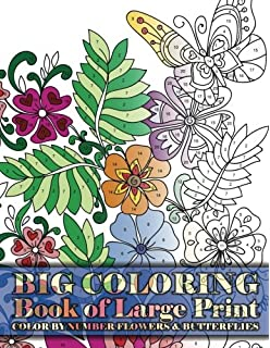 Big Coloring Book Of Large Print Color By Number Flowers Butterflies Volume 15