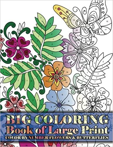 Big Coloring Book Of Large Print Color By Number Flowers Butterflies Premium Adult Books Volume 15 Lilt Kids 9781978379398