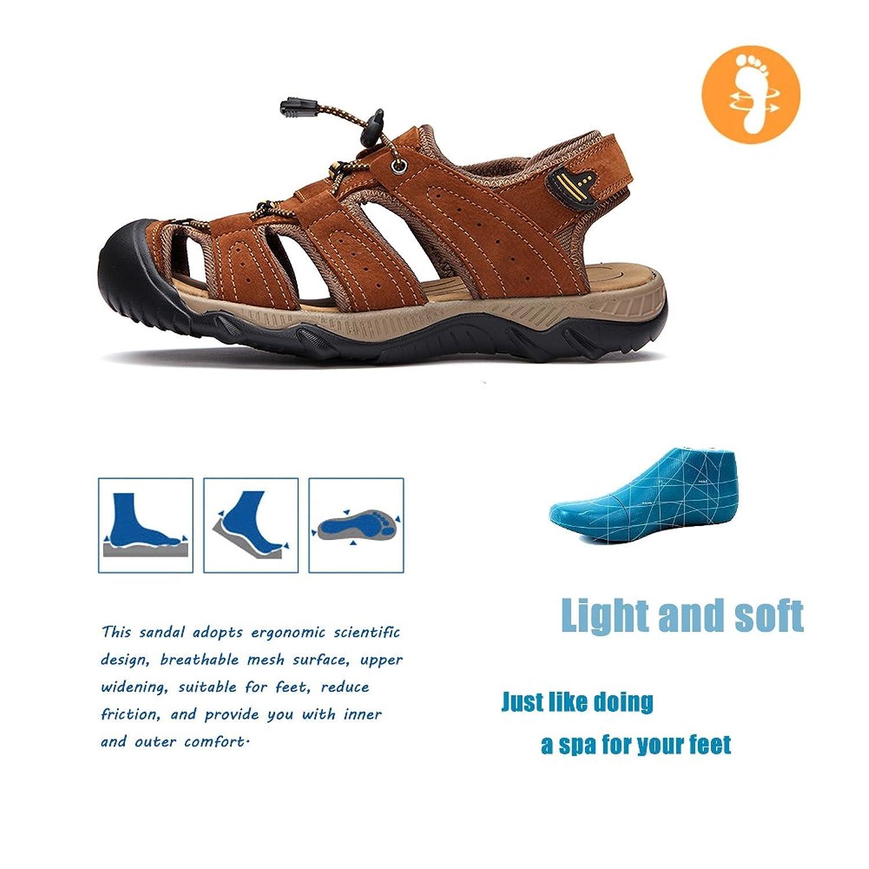 Maizun Men 19578 Brown S Leather Sport Toe Sandals Summer Outdoor Sandal Skyway Mobile 86 13953213158