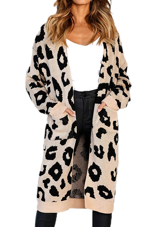 Vemubapis Women Leopard Print Cardigan Sweater Knitted Windbreaker Coat