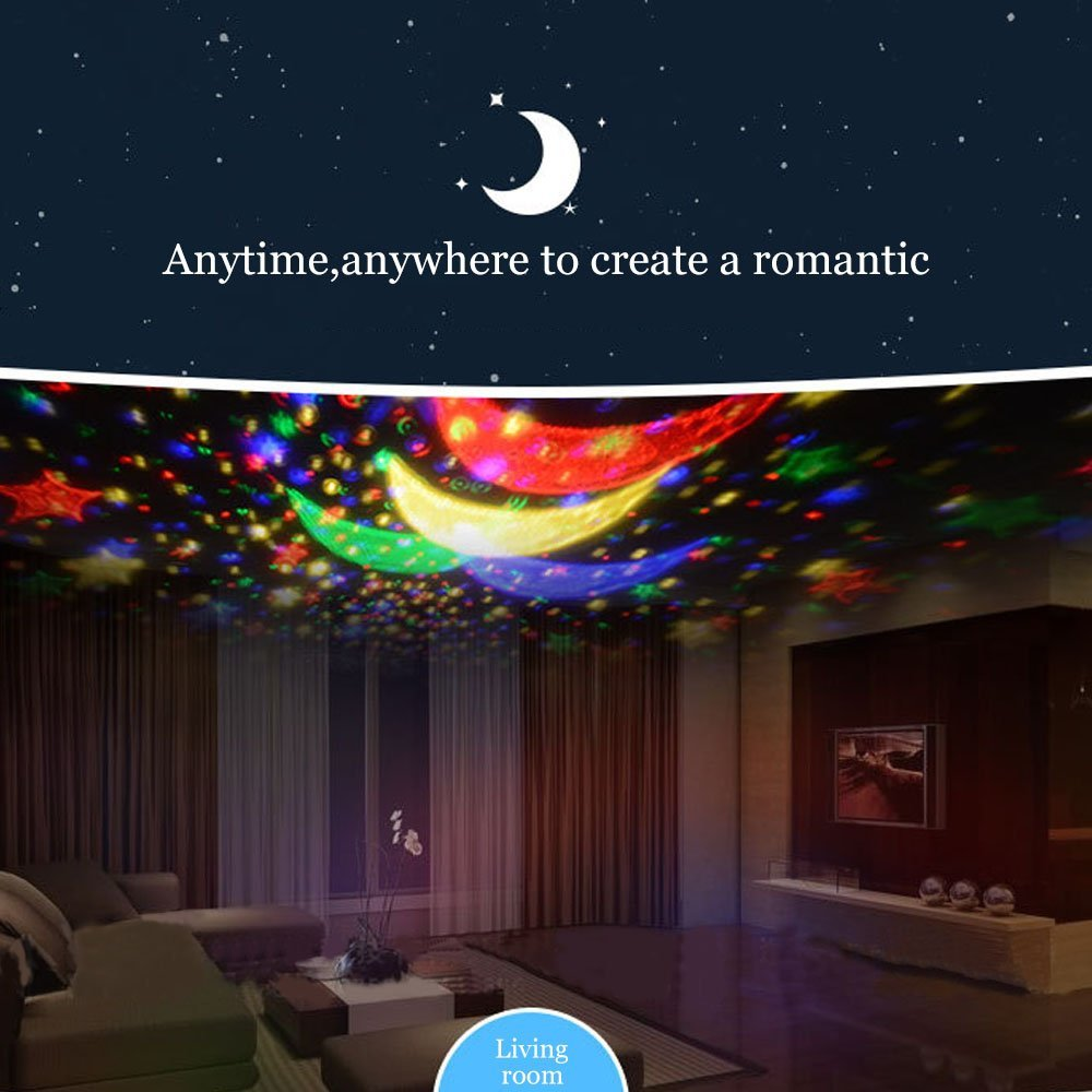 Ecandy Constellation Night Light Projector Lamp 360 Degree Rotating 3 Mode Romantic Cosmos Star Sky Moon Bedroom Light for Children,Baby Bedroom,Christmas Gifts,Pink