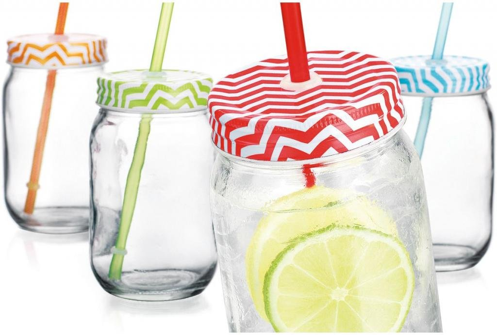 Home Essentials Chevron 16oz Mason Jars w/Straw, Set of 4