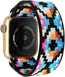 Tefeca Geometry Pattern Elastic Compatible/Replacement Band for Apple Watch 38mm/40mm (Gold Adapter, M fits Wrist Size : 6.5-7.0 inch)