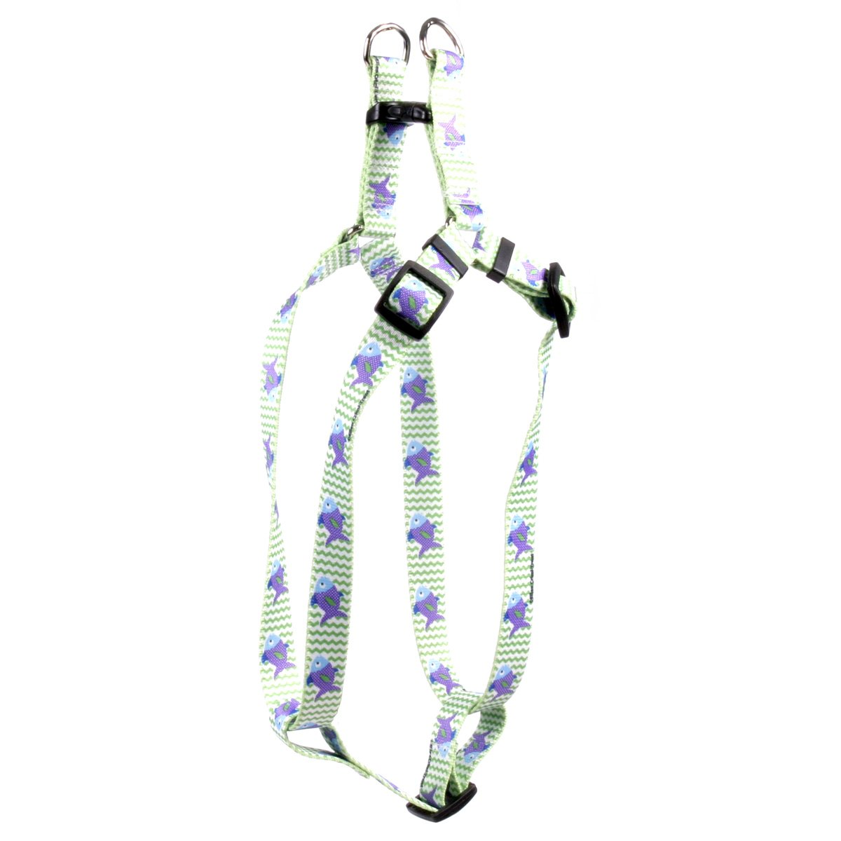 Large 25\ Yellow Dog Design Fish Tales Step-in Dog Harness 1  Wide and Fits Chest Circumference of 25 to 40 , Large