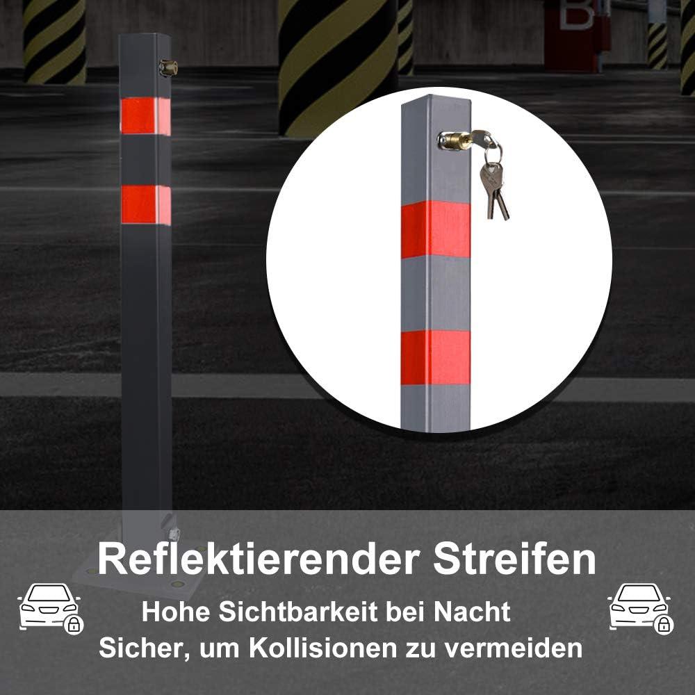 HENGEI Parkpfosten Parkplatzsperre Poller klappbar Absperrpfosten Parkplatzsperre Wegsperren Sperrpfosten mit 3 Schl/üssel