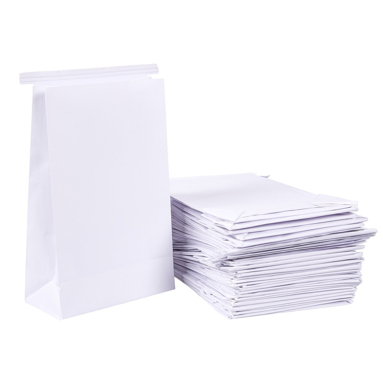 50-Pack Vomit Bags - No Print Plain White Emesis Barf Bags for Motion Sickness and Morning Sickness, Paper Puke Bag, 6 x 2.6 x 9.7 inches