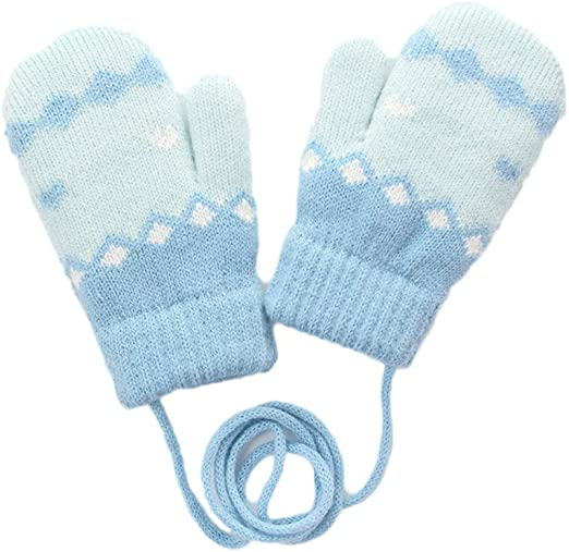 Winter Thicken Warm Microfiber Full Finger Gloves for Baby Kids Girls Mittens
