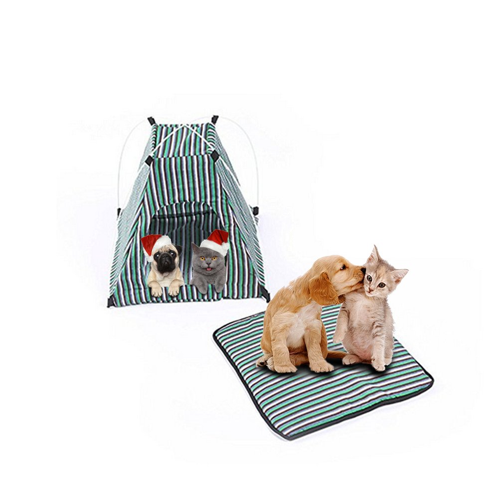 Pet Tent ,Portable Folding Dog Cat House Bed Tent Waterproof Indoor Outdoor Cat Tent Teepee,16.8''W x 16.8''L x 16''H (Green)