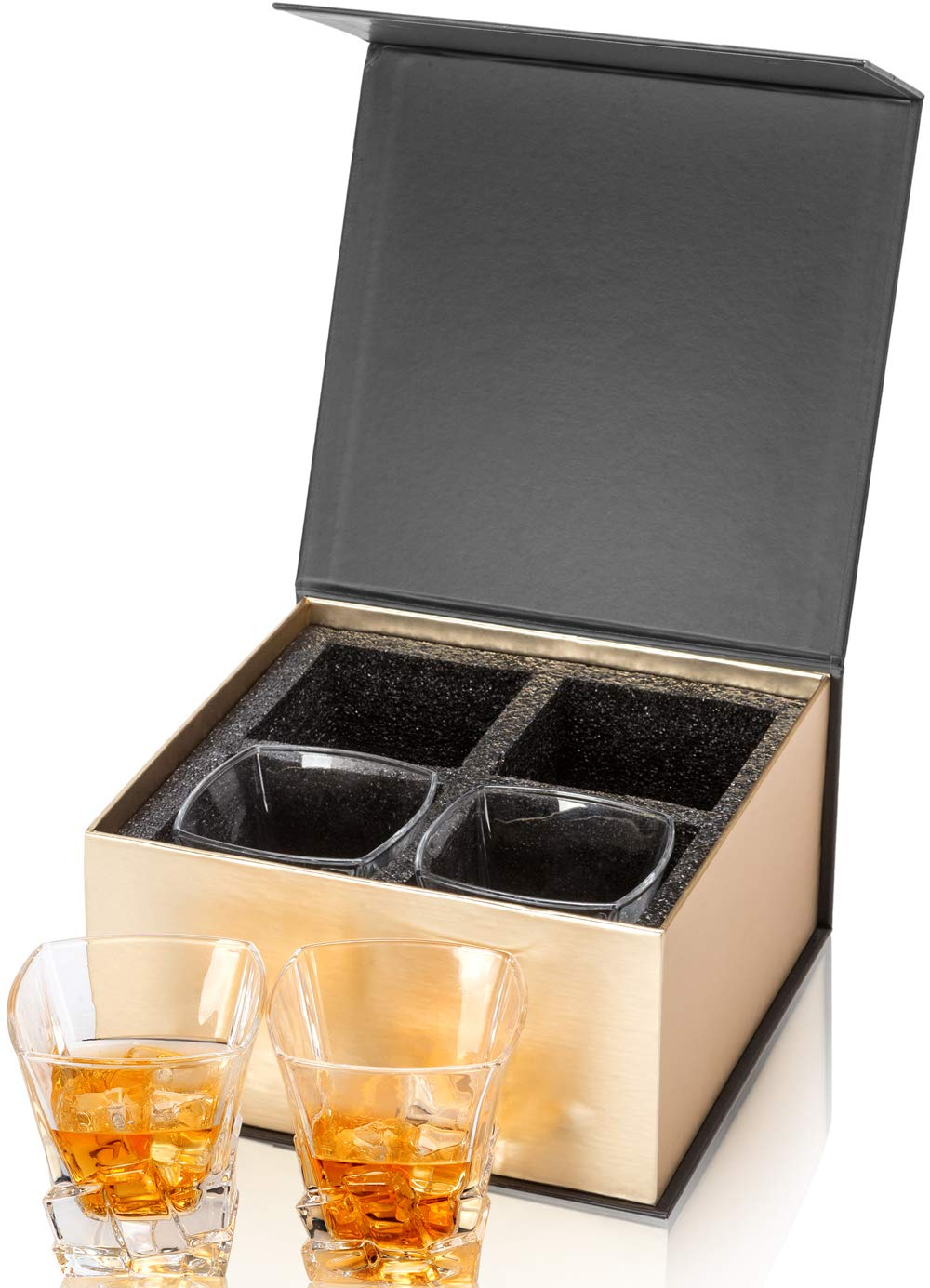 Set of 4 Twist KANARS Crystal Whiskey Glass For Scotch or Bourbon With Luxury Gift Box Rock Style Old Fashioned Cocktail Tumblers For Men And Women