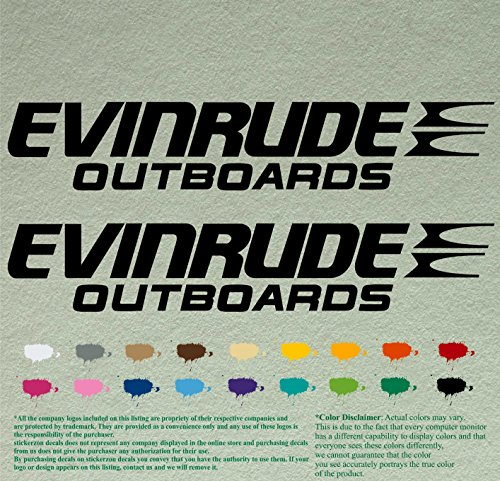 Pair of Evinrude Outboards Decals Vinyl Stickers Boat Outboard Motor Lot of 2 (12 inch, Black 070) (Outboard Equipment)