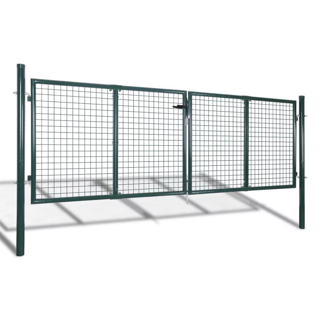 mewmewcat Mesh Gartent/ür Gartentor Hoftor Zaunt/ür Gartenpforte Einzeltor 85,5 x 125 cm Grau Verzinkter Stahl
