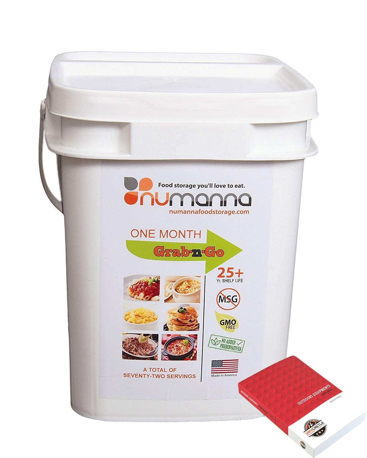 NuManna INT-NMGNG 80 Meals Grab-N-Go, 25 Plus Year Shelf Life bundled with Outdoors Equipments Guide Book (Grab-N-Go 80 Servings+OE Guide Book) by NuManna