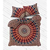 """Indian Art Cotton Duvet Covers By """"Sophia Art , Peacock Mandala Duvet Cover Twin size Hippie Quilt Doona Cotton Cover Throw Bohemian Gypsy (Multi)"""