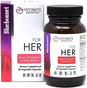 Bluebonnet Nutrition Intimate Essentials for Her Sexual Response & Libido Boost, Soy-Free, Gluten-Free, Non-GMO, Dairy-Free, Kosher Certified, Vegan, 30 Capsules, 15 Servings