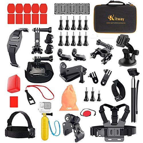 Kitway Action Camera Accessories Kit for Akaso EK7000/ Wewdigi EV5000/ GoPro Hero 6 Hero 5 Black Session 4 3+ 3 2 1/ DBpower N6/ Crosstour and More (50-in-1)