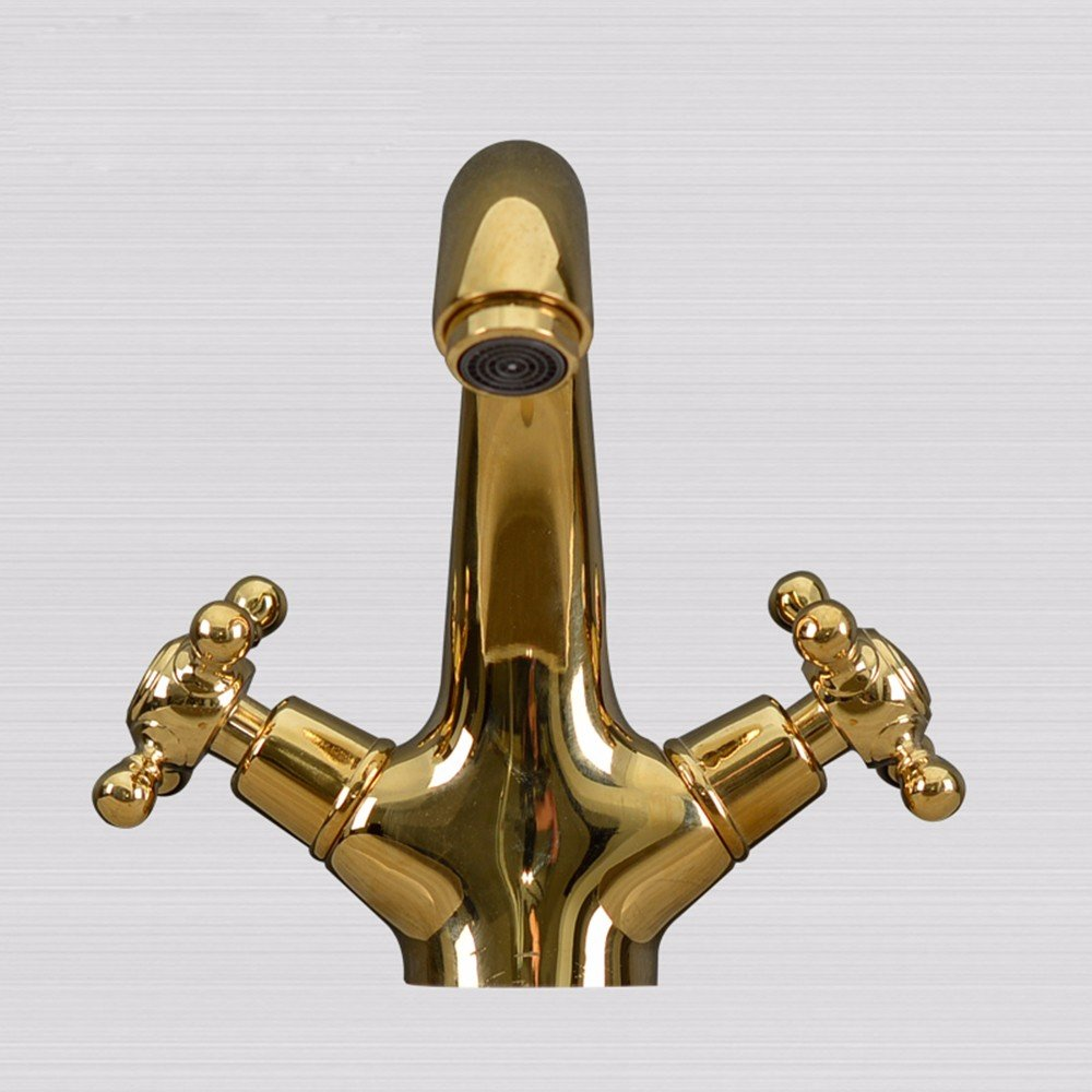 SJQKA-All copper antique European style faucet, retro single hole basin faucet, art basin, platform, basin hot and cold water faucet,Luxury gold by SJQKA (Image #1)