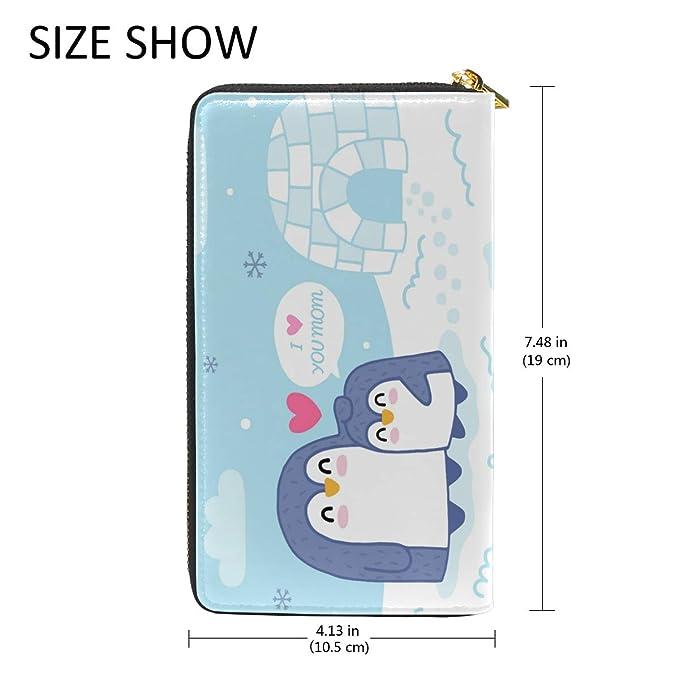 Amazon.com: Monedero de piel para mujer, diseño de pingüino ...