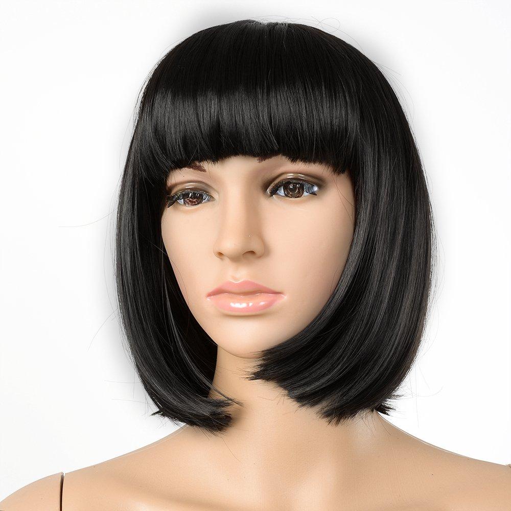 AGPtek® New Bob Style Wig Cosplay Disco Party Short Straight Bang Hair Full Wigs (Black)