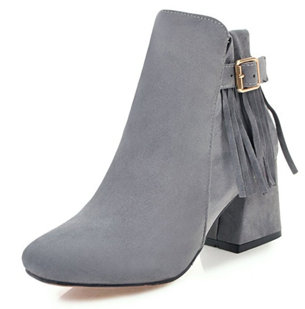 Aisun Femme Mode Franges à Talon B07DVG146T Low 12411 Bloc Mi-Talon Low Boots Bottines Gris 4c42aed - deadsea.space