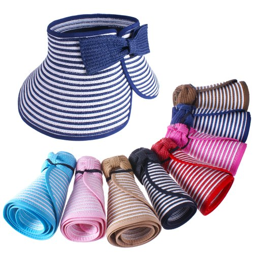 Yougle ® Fashion Girl Lady Beach Sun Visor Foldable Roll up Wide Brim Straw Hat Cap Free Shipping