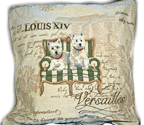 Tache 1 Piece Vintage French Royal Pawness Woven Tapestry Cushion Throw Pillow Cover (Pillow Tapestry Dog)