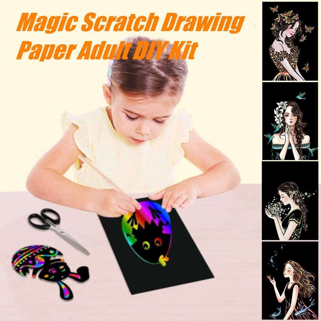 21  29cm, E Famlhewo Rainbow Scratch Paper,Decompression Color ...