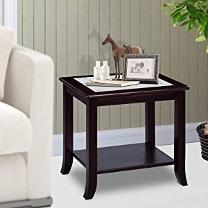 """PrimaSleep 22"""" H Modern Natural Marble Top & Solid Wood Base Coffee Side End Sofa Table, White/Dark Brown"""
