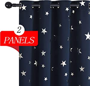 Estelar Textiler Navy Blue Star Blackout Room Curtains Window Curtains for Kids Bedroom Nursery Noise Reducing Light Block 52 x 84 Inch One Pair