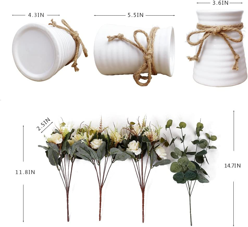 YILIYAJIA Artificial Flowers in Vase Silk Rose Flower Arrangements Fake Faux Flowers Bouquets with Ceramics Vase Table Centerpieces for Dinning Roon Table Kitchen Decoration (Champagne): Home & Kitchen